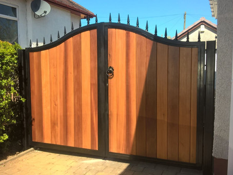 Metal Framed Timber Infill Automatic Gates - East Kilbride, Scotland