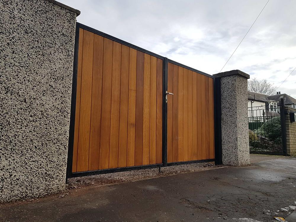 metal framed timber hardwood driveway gates glasgow