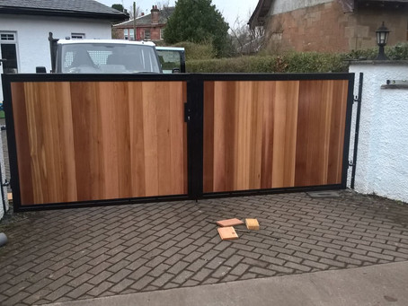 Metal Framed Timber Infill Automatic Gates - Glasgow, Scotland