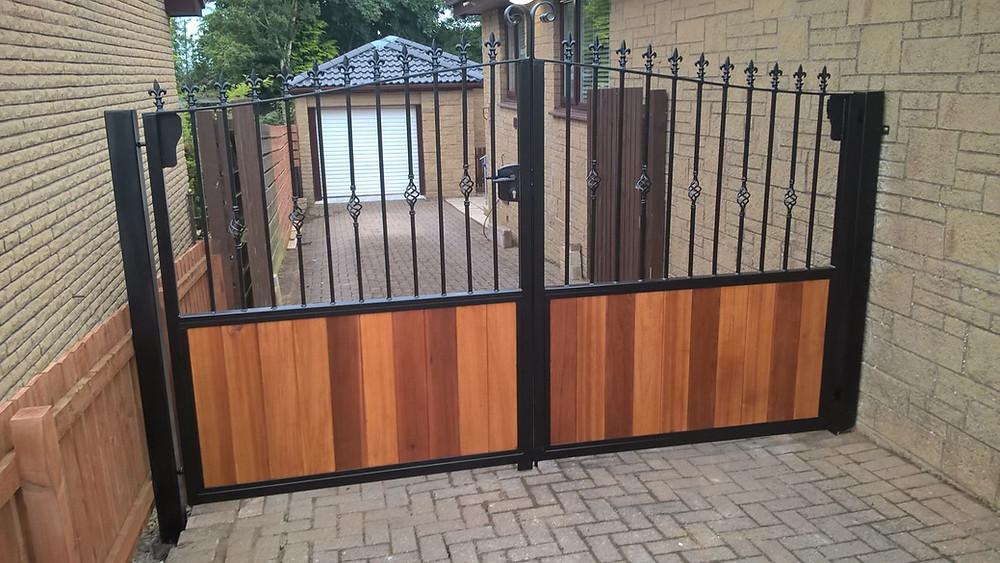 metal and western red cedar automatic gates
