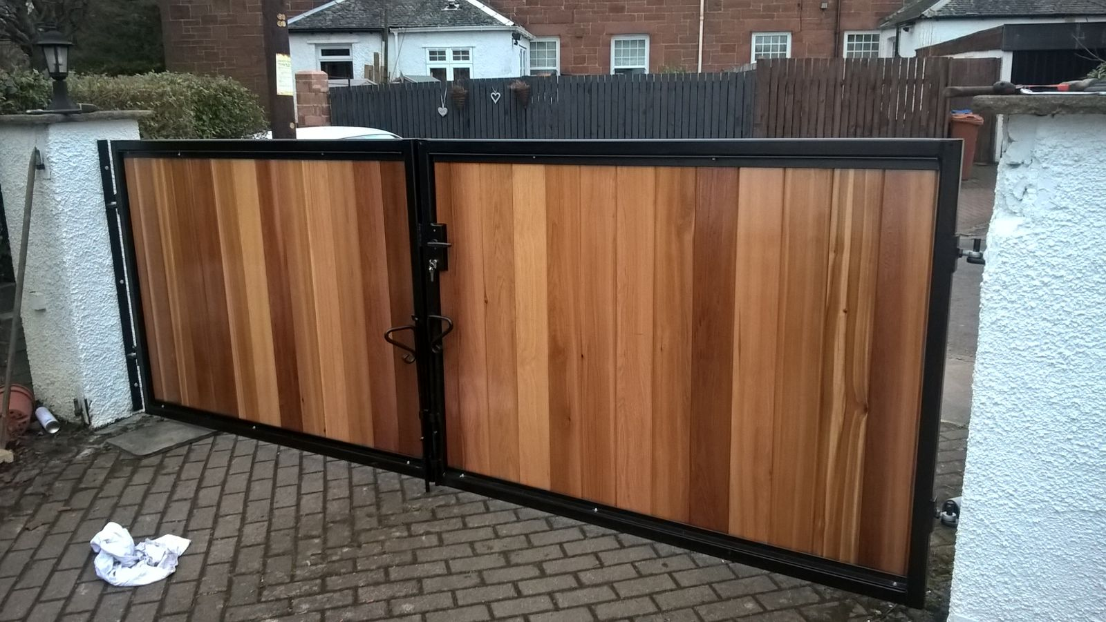 Metal Framed Timber Infill Automatic Gates Motherwell