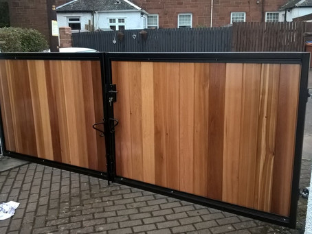 Metal Framed Timber Infill Automatic Gates - Motherwell, Scotland
