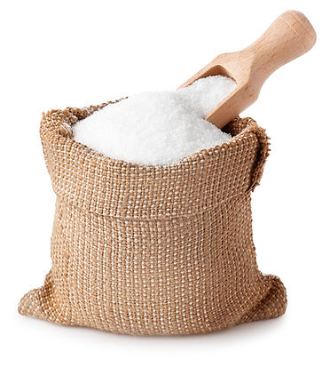 sugar with scoop in burlap sack isolated