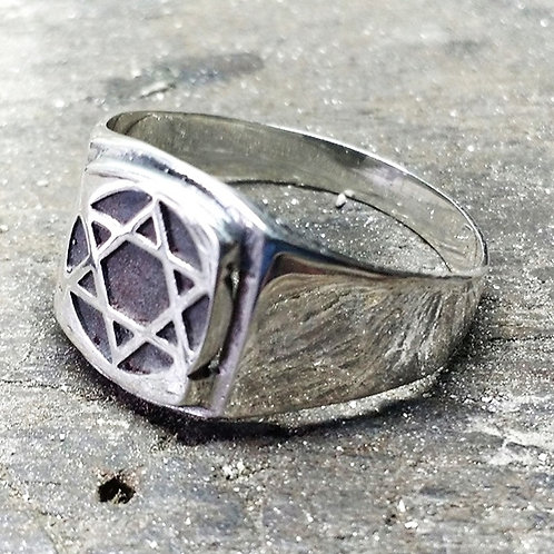 Anel Hexagrama Quadrado - Prata 950