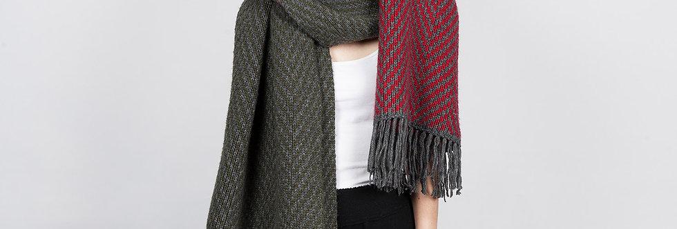 W100-C| Hand Knit Zigzag Scarf