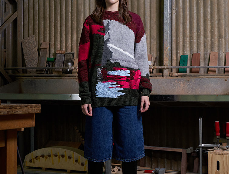 Intarsia Knit Pattern Sweater with Embroidery