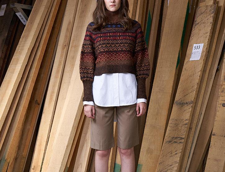 Vintage Jacquard High Neck Pullover