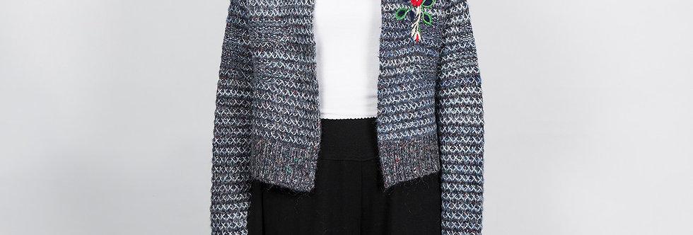 1509-48 | Color Change Fancy Yarn Embroidery Short Cardigan