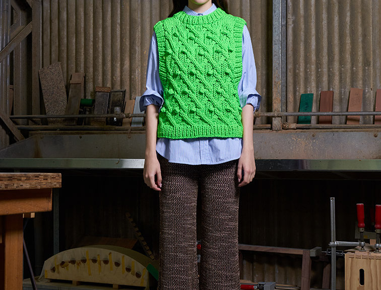 Hand Knit Cable Vest