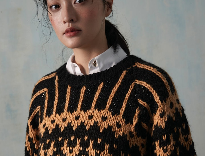 Oversize Chunky Knit Pullover with Beading