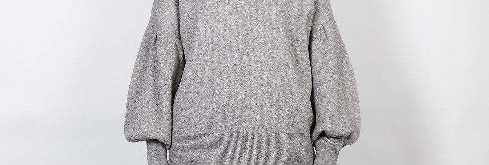 W145   Grey Ballon Sleeve Pullover