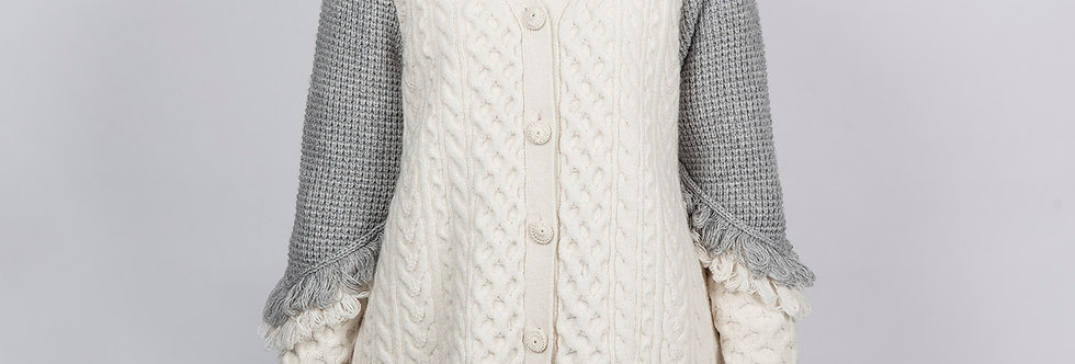 W111-B  | Bi-Color Fabric Mix Knitted Cardigan