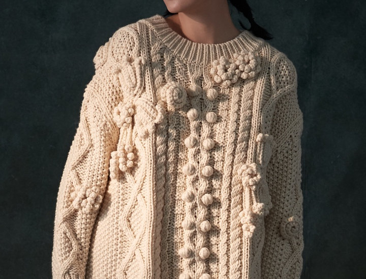 Chunky Knit Pullover with Crochet Flowers