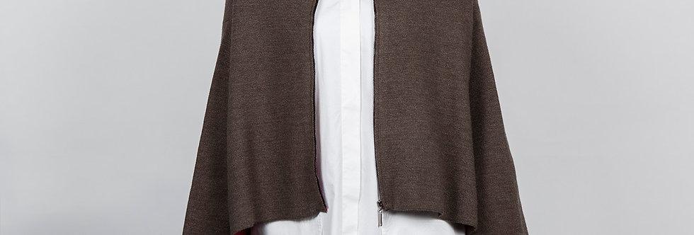 1709-07-G | Brown Zipper Short Kimono