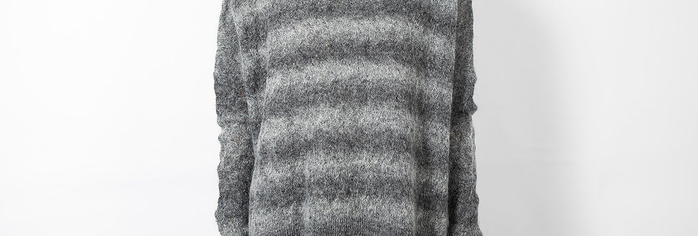 W138-Opt2 | Charcoal Stripe Mohair Turtleneck Pullover