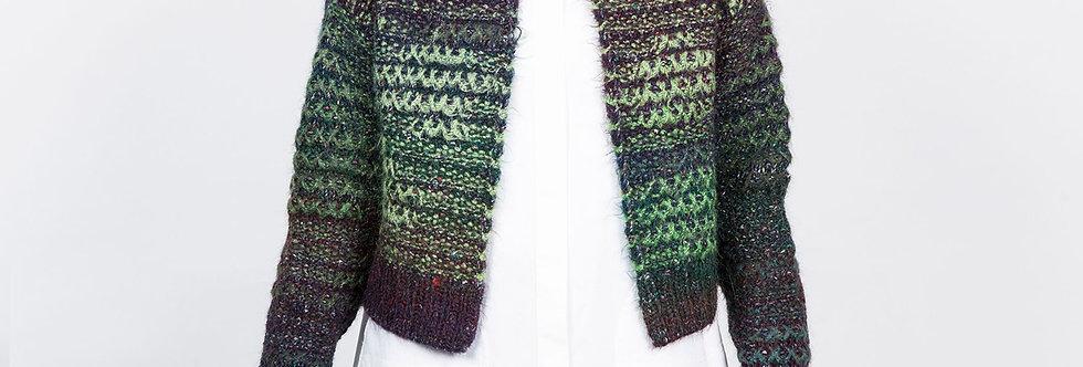 1509-48A | Green Stripe Color Change Fancy Yarn Short Cardigan