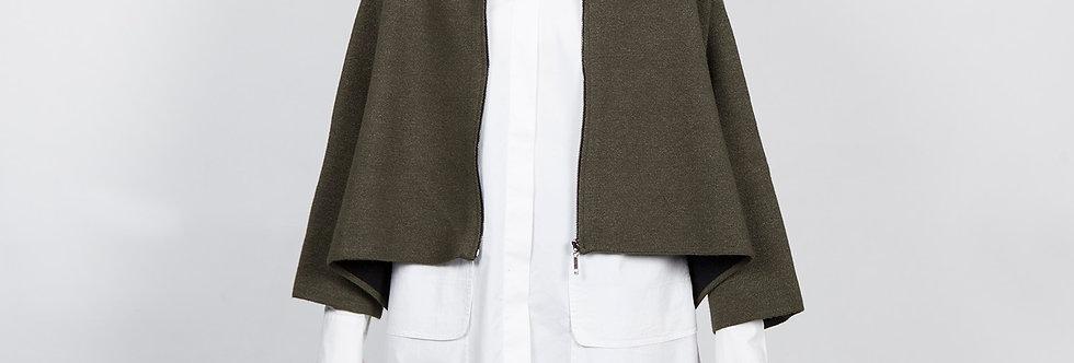 1709-07-O | Olive Zipper Short Kimono