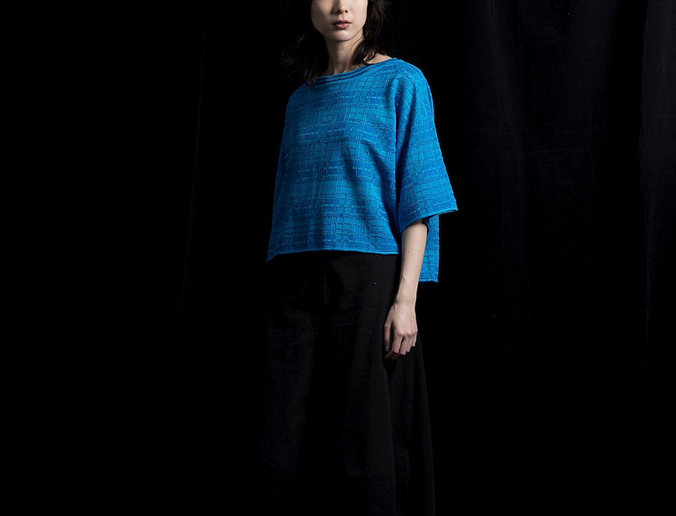 S110 | Jarquard Pattern Blue Sweater