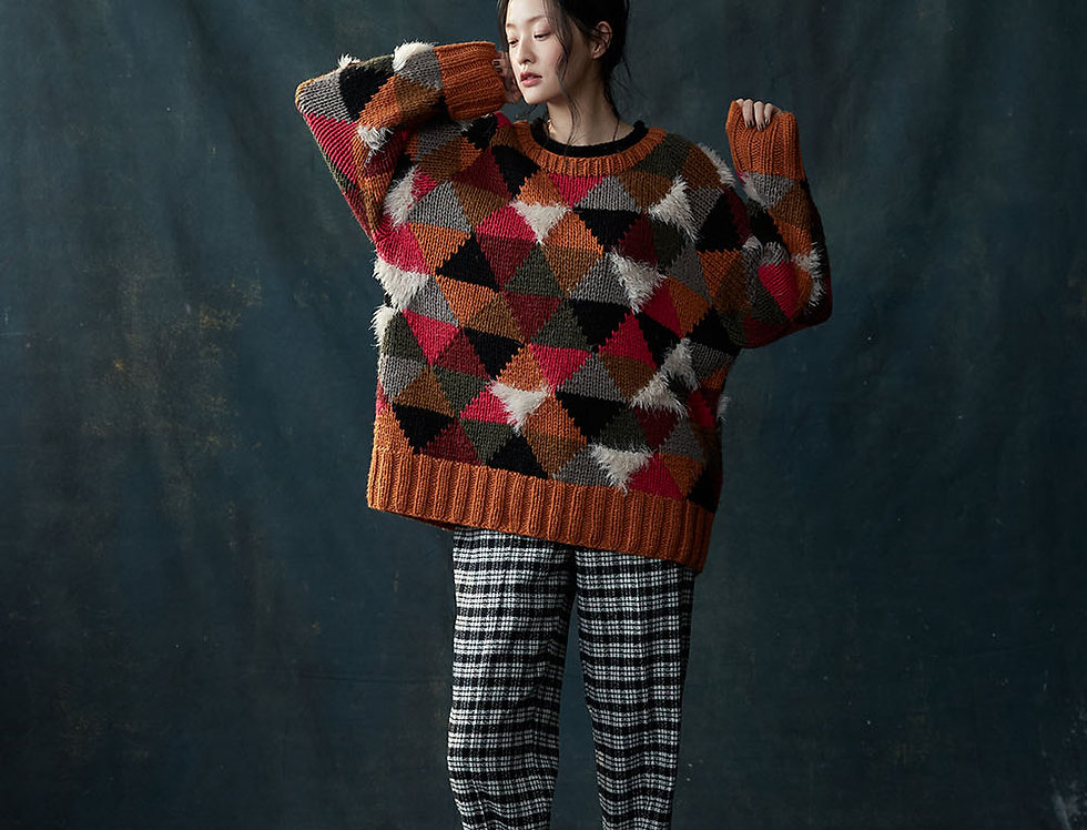 BJ-J0318-B | Color Block Mixed Furry Pullover