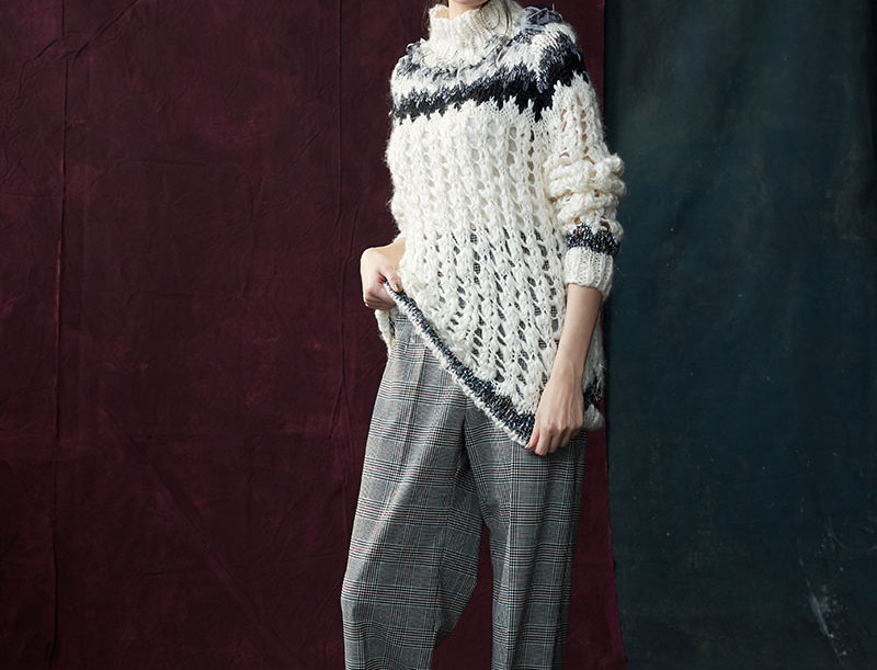 BJ-F1809-01 | Hand Knit Open Work Lurex Pullover