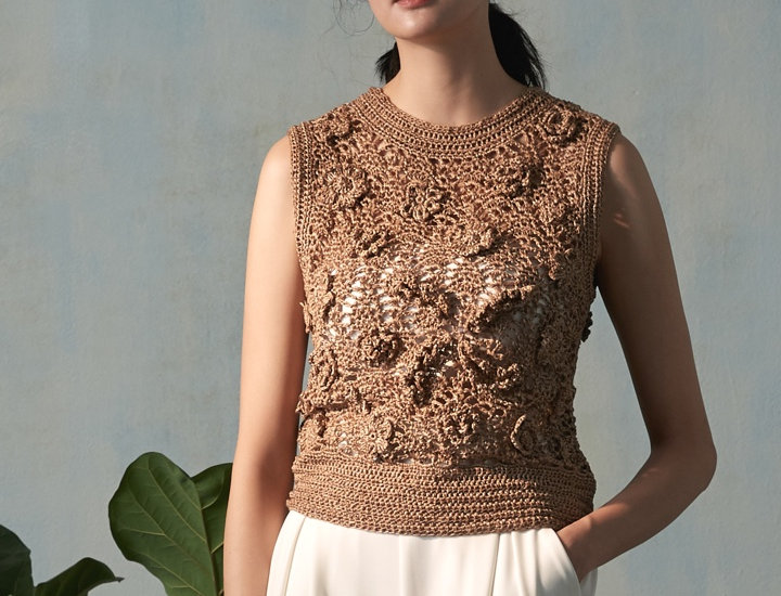 Paper Yarn Crochet Top with Flower Detail