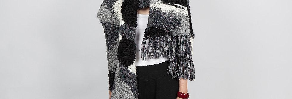 W116   Hand Knit BW Patchwork Scarf