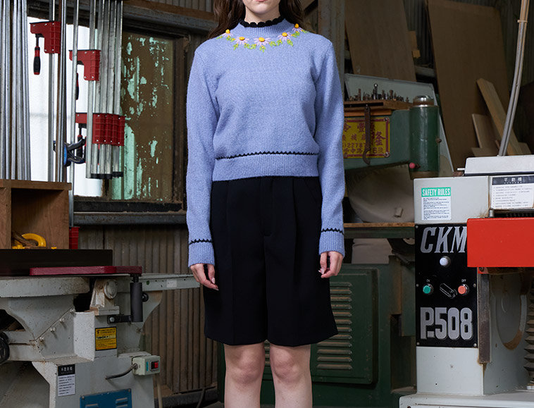 Scallop Edge Pullover with Crochet and Embroidery Detail