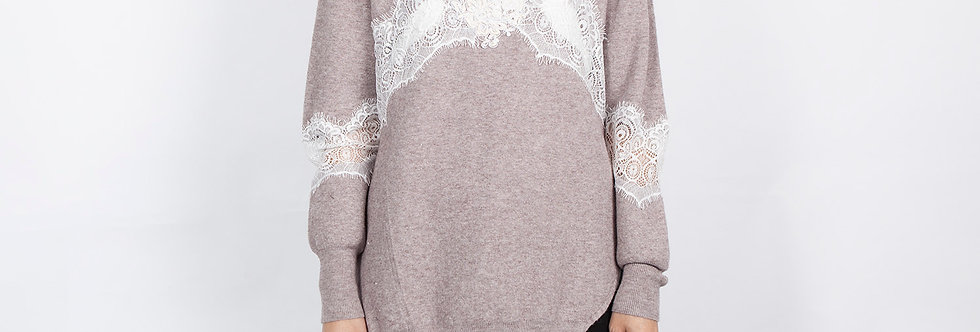 1708-03 | Lace Patchwork Pullover