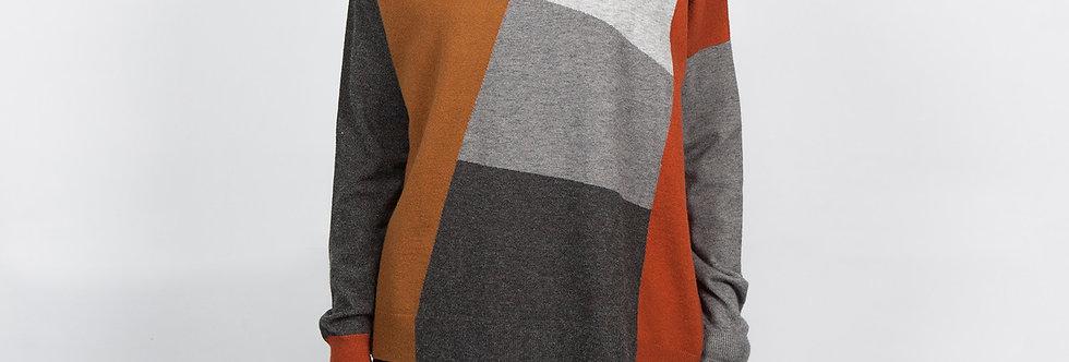 W137  | Contrast Color Block Pullover