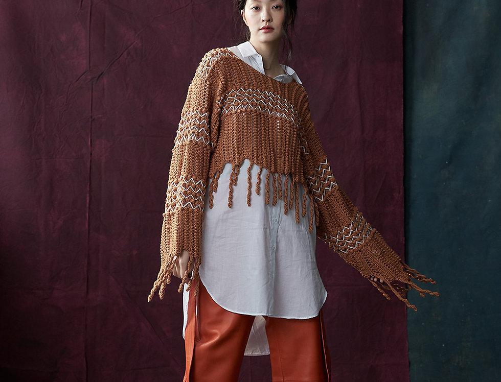 BJ 108-005 | Hand Crochet Pullover with Fringe