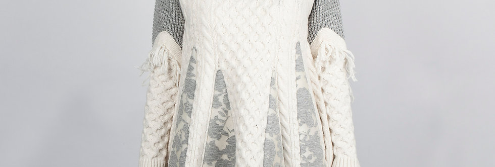 W111-A | Mixed Fabric Fringe Pullover