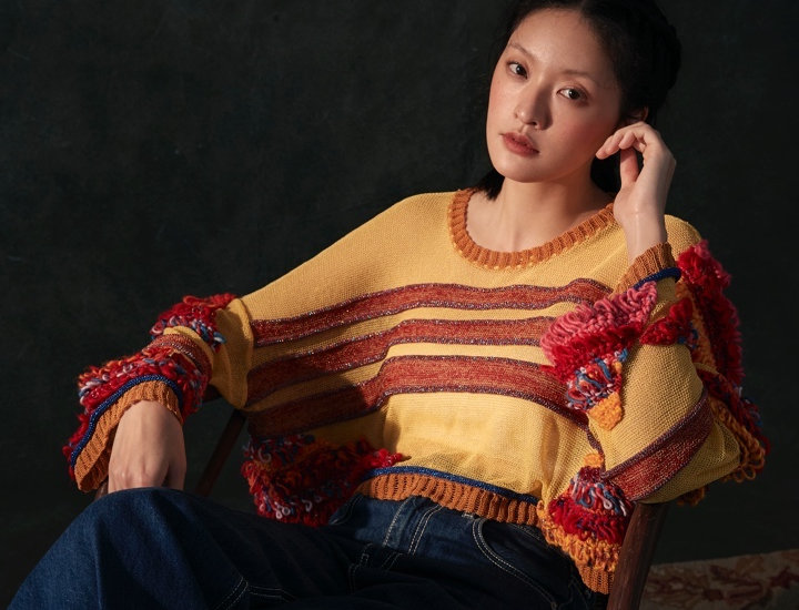 Cropped Pullover with Hand Knit Detail