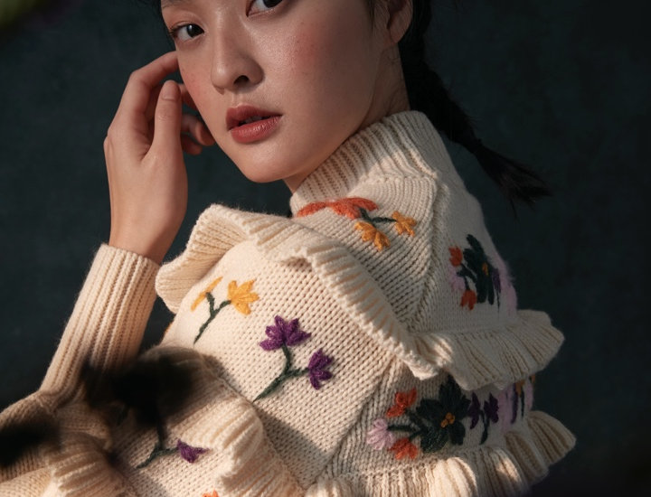 Layers ruffle Hand Embroidery Pullover