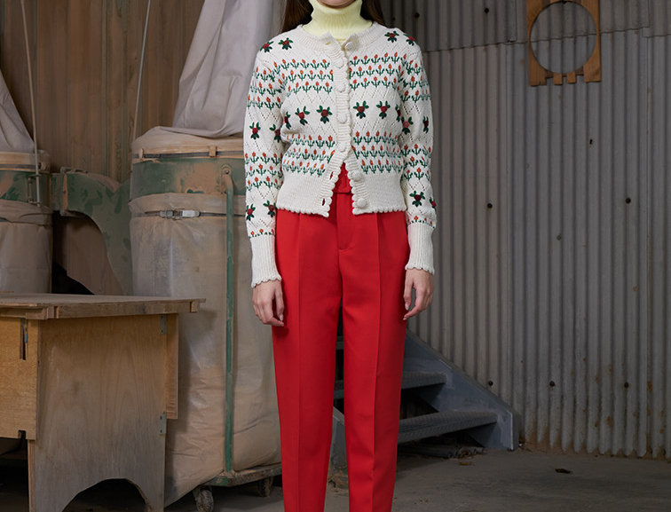 Flower Jacquard Cardigan with French Knot Embroidery