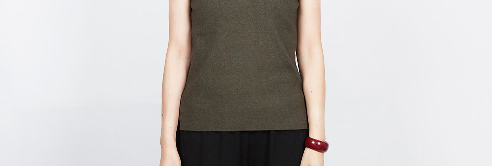 1708-25 |  Olive Sleeveless Turtleneck