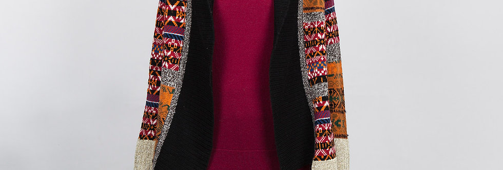 W121   Intarsia Knit Cardigan