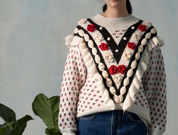 Retro Floral crochet ruffle pullover