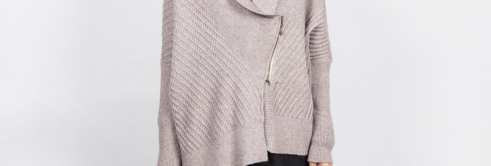 W143 | Unbalanced Zipper Knitted Cardigan