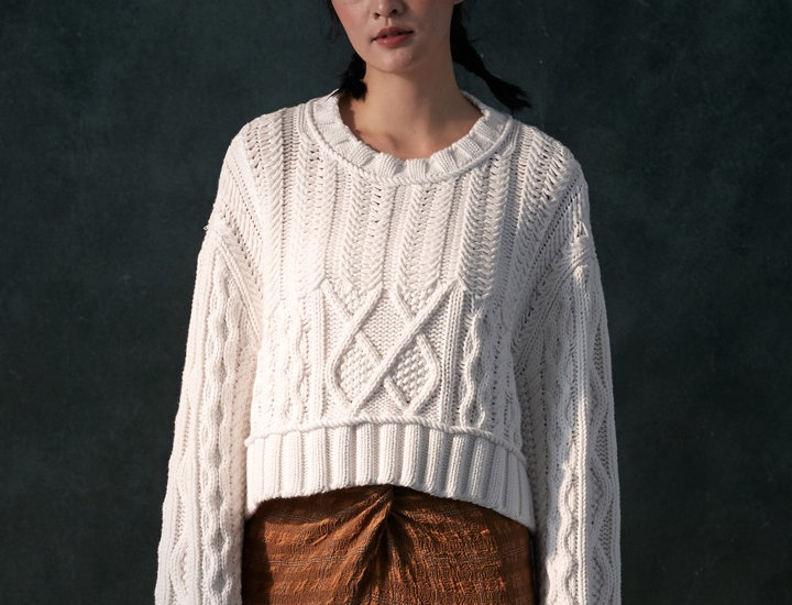 Heavy Knit Cable Pullover with Rope Detail