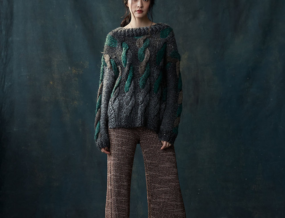 BJ1809-998 | Shetland Wool Cable Pullover