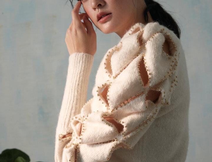 Fancy Knit Beading Sweater