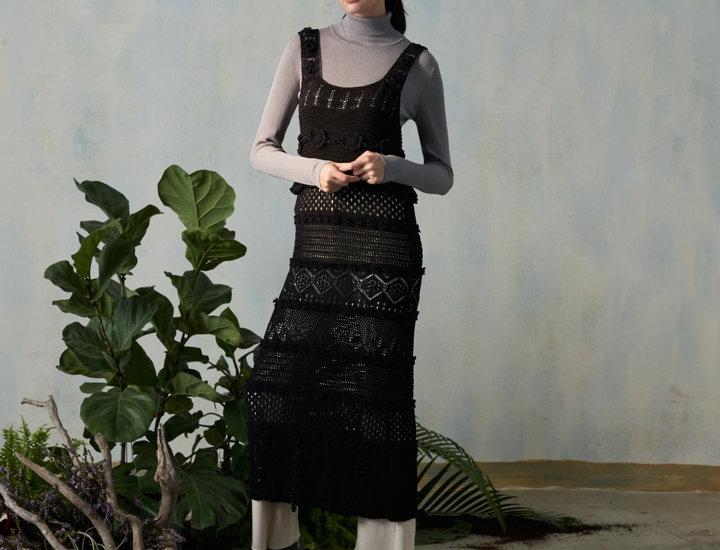 Maxi Pointelle Dress with Crochet Flower