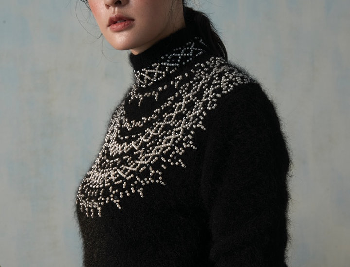 Mohair Pullover with Beads detail on Yoke