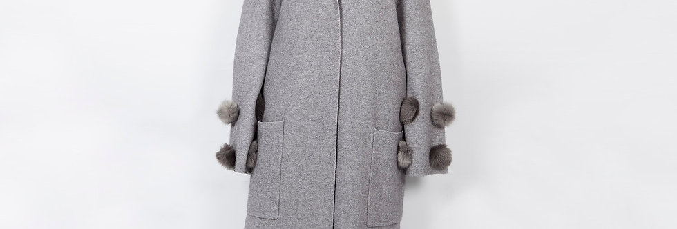 W90 | Faux Fur Ball on Sleeve Knitted Cardi