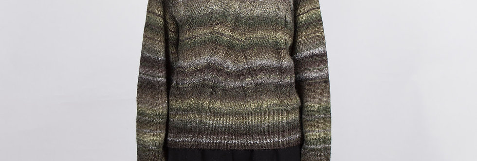 W139 | Color Change Green & Grey Stripe Pullover