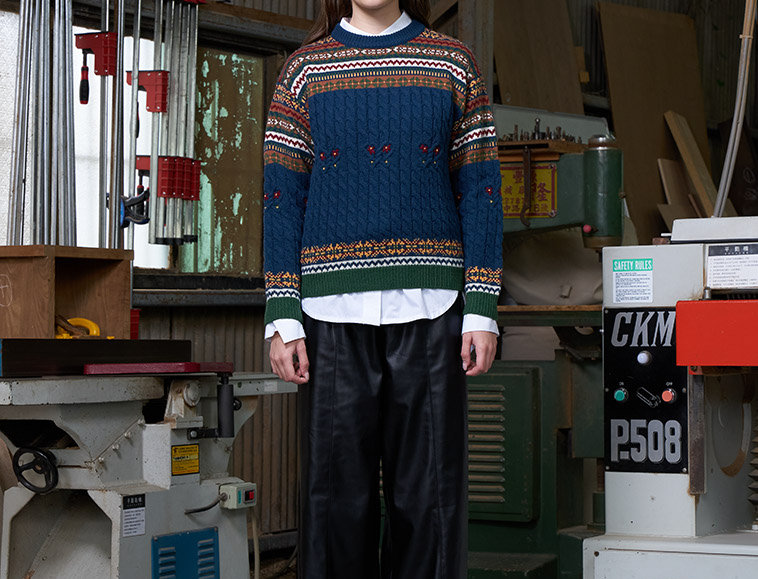 Jacquard Fancy Cable Pullover with Hand Embroidery
