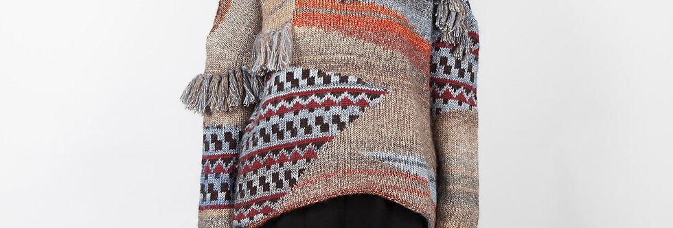 W149 | Patchwork with Fringe Pullover