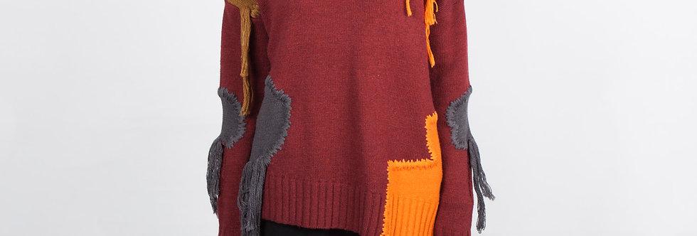 W101 | Patchwork Fringe Pullover