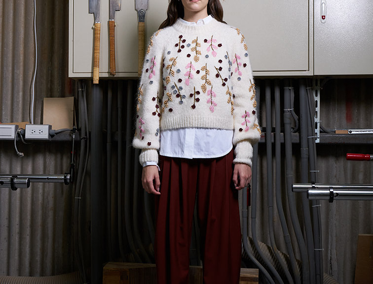 Beading Pullover with Balloon Sleeves