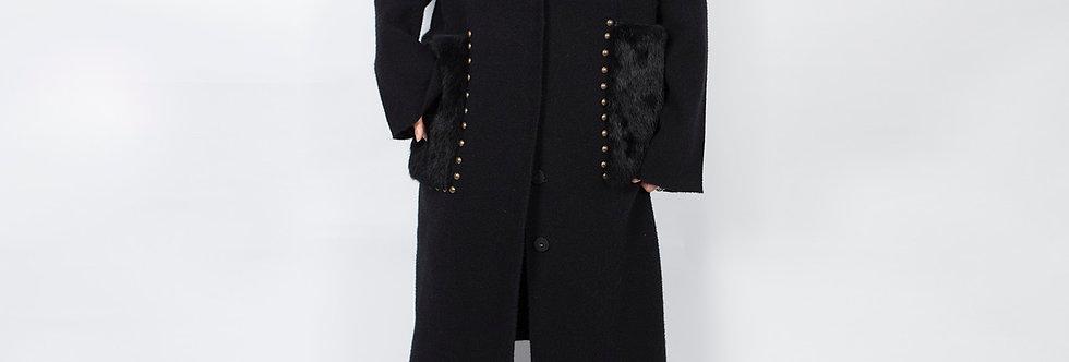 W88 | Rivet Fur Pocket Long Cardi